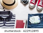 set of travel stuff on old... | Shutterstock . vector #622912895