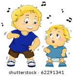 Illustration of a Young Boy Teaching a Baby to Dance - Vector - stock vector