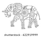 steam punk style elephant.... | Shutterstock .eps vector #622919999