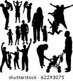 family silhouettes   vector | Shutterstock .eps vector #62293075