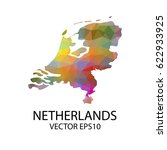 vector color map of netherlands ... | Shutterstock .eps vector #622933925