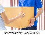 asian woman receiving a package ... | Shutterstock . vector #622938791
