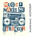 music makes me stronger slogan... | Shutterstock .eps vector #622942829