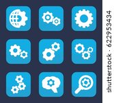 gears icon. set of 9 filled... | Shutterstock .eps vector #622953434