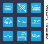airplane icon. set of 9 outline ... | Shutterstock .eps vector #622965827