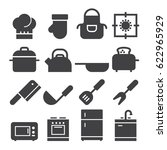 kitchen icons  black edition    Shutterstock .eps vector #622965929