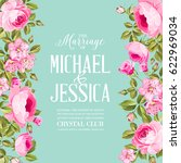 floral invitation card.... | Shutterstock .eps vector #622969034