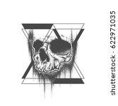 abstract dot work grunge skull... | Shutterstock .eps vector #622971035