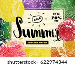 summer sale up to 70 off.... | Shutterstock . vector #622974344