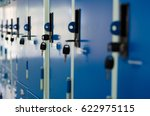a side on view stack of blue... | Shutterstock . vector #622975115