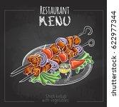 chalk drawing menu design.... | Shutterstock .eps vector #622977344