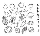 graphic veggies and fruits ... | Shutterstock .eps vector #622977995
