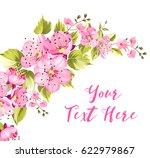 spring card with sakura flowers ... | Shutterstock .eps vector #622979867