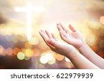human hands open palm up... | Shutterstock . vector #622979939