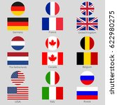 flags icon set. national symbol ... | Shutterstock .eps vector #622980275