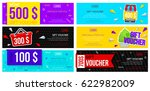 set of colorful gift vouchers....