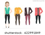 clothing sets for female.... | Shutterstock .eps vector #622991849