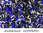 a pile of black  white and blue ... | Shutterstock . vector #622996931
