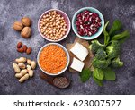 lentils  chickpea  nuts  beans  ... | Shutterstock . vector #623007527