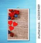 red hearts and gift boxes.... | Shutterstock . vector #623009489