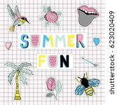 hello summer fun poster with... | Shutterstock .eps vector #623020409