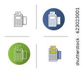 pos terminal icon. flat design  ... | Shutterstock .eps vector #623023001