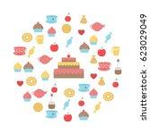 tea sweets set.tea time... | Shutterstock .eps vector #623029049