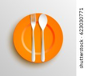 plate  spoon and fork isolated...   Shutterstock . vector #623030771