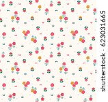 trendy seamless floral pattern... | Shutterstock .eps vector #623031665