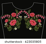 embroidery stitches with red... | Shutterstock .eps vector #623035805