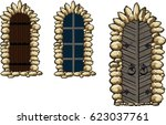 ancient medieval windows and... | Shutterstock .eps vector #623037761
