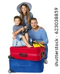 family suitcase  parents child... | Shutterstock . vector #623038859