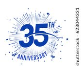 35th anniversary fireworks and... | Shutterstock .eps vector #623044331
