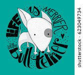 small bull terrier dog with the ... | Shutterstock .eps vector #623049734