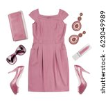 collage of woman pink summer... | Shutterstock . vector #623049989