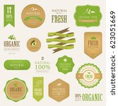 natural label and organic label ... | Shutterstock .eps vector #623051669