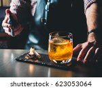 bright orange old fashioned... | Shutterstock . vector #623053064
