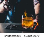 bright orange old fashioned... | Shutterstock . vector #623053079