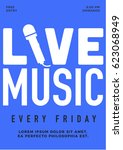 beautiful 'live music every...   Shutterstock .eps vector #623068949