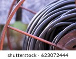 close up on cable reel | Shutterstock . vector #623072444