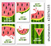 set of 6 cute creative cards... | Shutterstock .eps vector #623076155