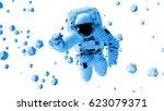 astronaut flying between... | Shutterstock . vector #623079371