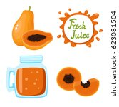 vector set of natural fresh... | Shutterstock .eps vector #623081504