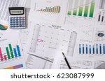 2017 calendar with business... | Shutterstock . vector #623087999
