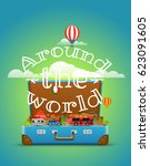 around the world concept.... | Shutterstock .eps vector #623091605