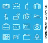 suitcase icons set. set of 16... | Shutterstock .eps vector #623091731