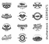 car service monochrome badges... | Shutterstock .eps vector #623093471