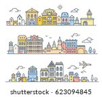 urban european day city with... | Shutterstock .eps vector #623094845