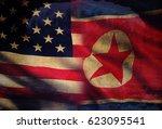 usa vs. north korea   graphic...   Shutterstock . vector #623095541