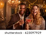 portrait of couple with drinks... | Shutterstock . vector #623097929